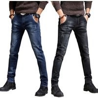 2018 thick jeans Mens Feet Slim Jeans  young Autumn thick stretch pants leggings fashion casual trousers boys