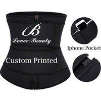 'Lover-beauty Black Abdomen Tummy Control Pocket 7 Steel Boned Latex Waist Trainer Private Label Women