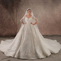 Amanda Novias Real Photos Newest Heavily Beaded Luxury Wedding Dress 2019