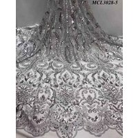 Free shipping silver women polyester sequins dress lace embroidered dresses beaded mesh lace fabric african