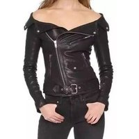 2018 Trending online wholesale shop in vogue ladies sexy off shoulder outwear coat womens zipper PU leather short jacket