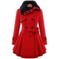 fur collar double row button high waist outwear with hem design mid long winter jacket women coat