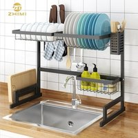 Factory Hot Sale 2 Tiers Black Stainless Steel Kitchen Hose Storage Over Sink Dish Drainer Rack