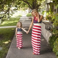 4th of july american flag tunic dress dot stripe mommy and me match sleeveless beach maxi dress women