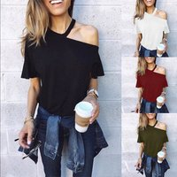 Hot Sale Women Bare Shoulder T Shirt New Vintage  Cold Shoulder Tunic Loose T-shirt Solid Color Short Sleeve Tees Tops