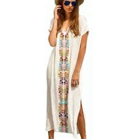 Women hot sale embroidered deep v neck long kaftan cover ups beach dress