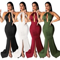 bulk wholesale sexy backless solid color halter women floor length long evening dress