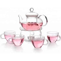 Chinese funky clear glass teapot set with infuser for sale