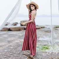 Roupas Femininas Thailand Vintage Style Sexy Backless Casual Linen Girl Boho Stripe Long Dress for Women Summer Beach