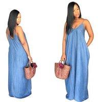 Women Summer Casual Spaghetti Strap Denim Deep V Neck Long maxi dress