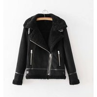Solid color thick wool padded women long sleeve winter coat suede leather jacket