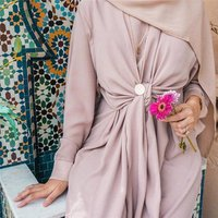 Hot sale kaftan high quality soft crepe with wide belt maxi abaya muslim women dress