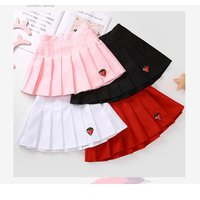 Fashion Girl  Solid Pleated  Skirt with Embroidery Strawberry Teenager Girl School Pleated Skirt Student White Red Black Pink