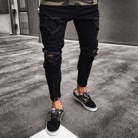 Mens Vintage Ripped Jeans Skinny Slim Fit Zipper Denim Pant Destroyed Frayed Trousers Gothic Style Pants Thin Y11265