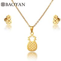 BAOYAN Simple Gold Plated Stainless Steel Fruit Pineapple Earrings Necklace Jewelry Set