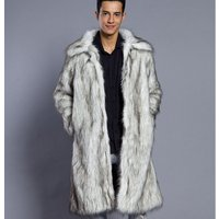 Men Faux Fur Coats Warm Winter Male Long Trench Coat men faux fur parka wholesale