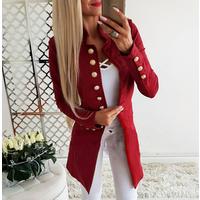QF0077  womens long-sleeved buckle Slim small blazer