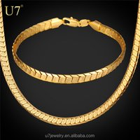 Platinum/Yellow Gold Plated Snake Chain Bracelet And Necklace Set 2016 Trendy Costume Jewelry Set For Men Gift Party
