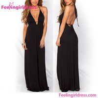 Summer Sexy Lady Black Deep V Front Halter Neck Maxi Boutique Dress
