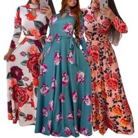 Womens Fashion Bohemian Long Sleeve Floral Print O neck Maxi Dress Beach Dress Vintage Dress Plus Size(S-5XL))