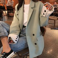 OEM autumn winter double breasted office lady blazer casual womens coat