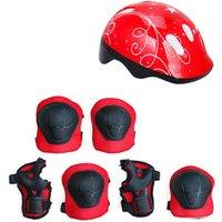 Childrens helmet protective gear roller skates protective gear 7 sets of boys and girls helmet set knee pads elbow guard wrist
