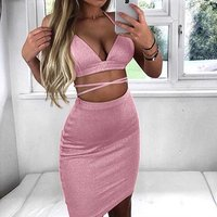 Free Shipping Shining Two Piece Short Top Dress Clothes set 2019 Bandage Women Dresses Summer Ladies Sexy Casual Dress Clothes