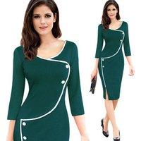 Women Retro Formal Pencil Dresses Wear To Work Business Vestidos Office Bodycon Sheath Female Dress Y10961