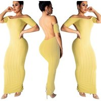 Hot Fashion Sexy Women Elegant Backless Bodycon Evening Dresses Off Shoulder Plus Size Maxi Party Clothing