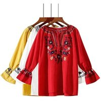 MOLI Women Clothes Puff Sleeve Round Neck With Tassel Tie Casual Embroidered Loose Blouse