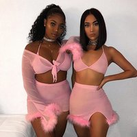 Neon Green Hot Pink Sexy Short Two Piece Set Crop Top and Split Skirt Suit Matching Sets Summer Clothes for Women