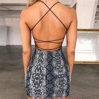 FS1738A New fashion women snake print backless dress