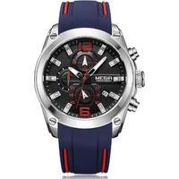 MEGIR 2063 New Mens Quartz Analogue Chronograph Watches Sport Military Silicone Date Indicator Wrist watch 2019