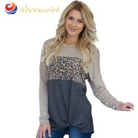 Blockbuster Autumn Womens Wear T-shirt with round collar and long sleeves spliced jacket and leopard print knotted tunic