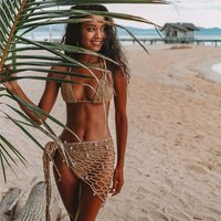 Women Sexy Beach Hand Crochet Wrap Triangle Shawls Bikini Cover Up Sunscreen Nets Skirt