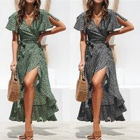 Summer Beach Maxi Dress Women Floral Print Boho Long Chiffon Dress Ruffles Wrap V-Neck Side Split Party Dress Robe 30% off