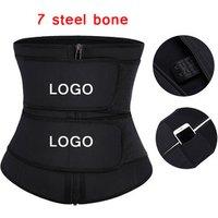 Custom Logo Plus Size Latex Waist Cincher Double Straps Hooks Sweat Shaper Corset Waist Trainer with Pocket