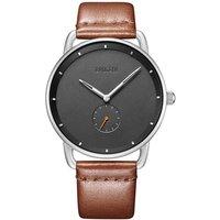 Baogela Fashion Simple men watches Ultra Thin Analogue Dress watch wrist men Brown Genuine Leather Strap Waterproof