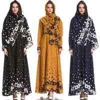 Women Dubai Kaftan Arab Islamic Middle East Ethnic Print Long Sleeve Abaya Muslim Dress