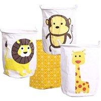 Foldable Collapsible Waterproof Fabric Cloth Cotton Linen Jute Canvas Laundry  Basket Animal Toys Storage Hamper Bucket Basket