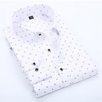 Classical Mens spring and autumn slim printed fashion long sleeved dress shirts