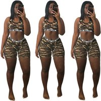 womens sexy camouflage crop top and skinny shorts two pieces set C2048