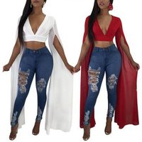 womens latest casual solid crop top with long chiffon sleeves M1061
