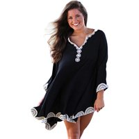 Hot Sale Women Embroidered Trims Long Sleeve Beach Cover up
