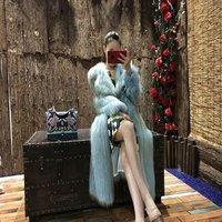YRC100 Popular Real Fox Fur Long Coat Fashion Knitted Warm Outwear For Woman YanRan FUR