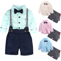 Summer spring Newborn Baby Boys Clothes set bow tie long sleeve T-shirt + Shorts Outfits Clothes Baby Clothing Set