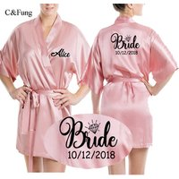 Personalized Satin silk Bride party Robe women custom wedding date bride kimono Peignoir bridesmaid bridal robes