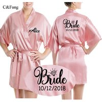 Personalized Satin silk Bride party Robe women custom wedding date bride kimono Peignoir bridesmaid bridal robes