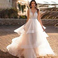 Elegant Wedding Gowns Latest Custom Made Beaded  A-line Ruffle Ivory Wedding Dress