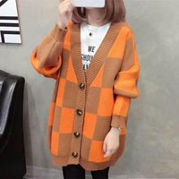 spring autumn winter v-neck long sleeve plaid patchwork fashion women cardigan sweater button front